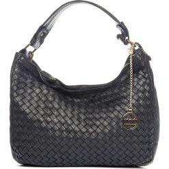 Torebki klasyczne damskie: Skórzana torebka w kolorze czarnym – 35 x 22 x 12 cm