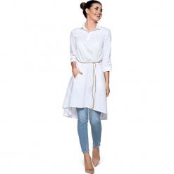 Biała Luźna Sukienka Koszulowa z Rzemykiem. Białe sukienki asymetryczne Molly.pl, l, eleganckie, z asymetrycznym kołnierzem, z krótkim rękawem, mini. Za 168,90 zł.