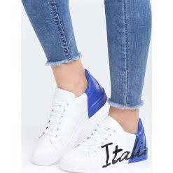 Biało-Niebieskie Buty Sportowe Girls Go Bad. Pomarańczowe buty sportowe damskie marki Born2be, z materiału. Za 79,99 zł.