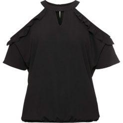 Bluzka z wycięciami i falbanami bonprix czarny. Czarne bluzki z odkrytymi ramionami bonprix, ze stójką. Za 49,99 zł.