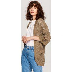 Swetry damskie: Ażurowy kardigan – Brązowy