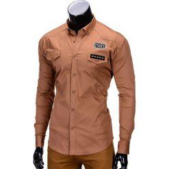 KOSZULA MĘSKA Z DŁUGIM RĘKAWEM K306 - RUDA. Brązowe koszule męskie na spinki marki Ombre Clothing, m, z aplikacjami, z kontrastowym kołnierzykiem, z długim rękawem. Za 49,00 zł.
