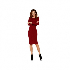 Kobieca ołówkowa sweterkowa sukienka LS224. Czerwone długie sukienki Lemoniade, na jesień, ze splotem, klasyczne, z klasycznym kołnierzykiem, z długim rękawem, ołówkowe. Za 169,90 zł.
