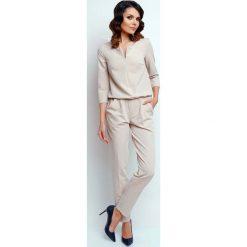 Odzież damska: Elegancki Wyjściowy Kombinezon z Suwakiem - Beżowy