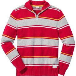 Swetry męskie: Sweter ze stójką Regular Fit bonprix czerwony w paski