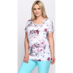 T-shirty damskie: Biały T-shirt Lotus Flower