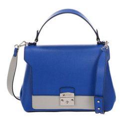 Torebki klasyczne damskie: Skórzana torebka w kolorze niebieskim – (S)30 x (W)37 x (G)14 cm