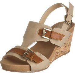 Rzymianki damskie: Sandały w kolorze beżowo-karmelowym