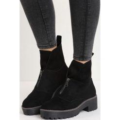 Czarne Zamszowe Botki September. Czarne buty zimowe damskie Born2be, z zamszu, na niskim obcasie. Za 99,99 zł.