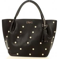 Eva Minge Femestage Elegancka shopper bag z perełkami  czarny. Czarne shopper bag damskie Eva Minge, ze skóry ekologicznej, zdobione. Za 179,00 zł.