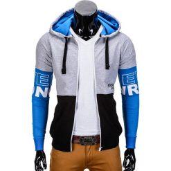 BLUZA MĘSKA ROZPINANA Z KAPTUREM B677 - SZARA. Czarne bluzy męskie rozpinane marki Ombre Clothing, m, z bawełny, z kapturem. Za 69,00 zł.