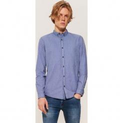 Koszula w pepitkę - Niebieski. Szare koszule męskie marki House, l, z bawełny. Za 79,99 zł.