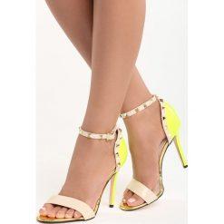 Beżowo-Żółte Sandały Night of Hunter. Brązowe sandały damskie Born2be, z lakierowanej skóry, na wysokim obcasie, na obcasie. Za 89,99 zł.