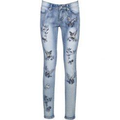 """Dżinsy Skinny z haftem bonprix niebieski """"bleached"""". Niebieskie jeansy damskie bonprix, z haftami, z jeansu. Za 129,99 zł."""