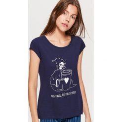 Koszulka HALLOWEEN - Granatowy. Niebieskie t-shirty damskie marki Cropp, l. Za 19,99 zł.