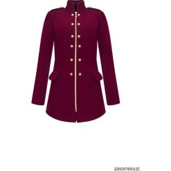 Płaszcze damskie: Płaszcz wełniany na jesień zimę bordo
