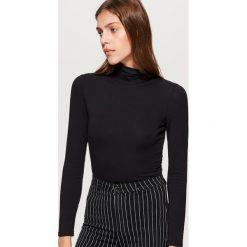 Swetry damskie: Gładki golf z kolekcji equal - Czarny