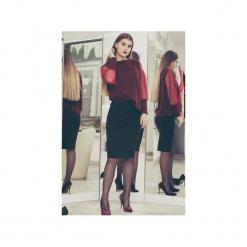 Bluzeczka Szyk Bordo. Czerwone bluzki asymetryczne 3 for u, l, z tiulu, eleganckie. Za 138,98 zł.