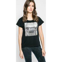 Trussardi Jeans - Top. Szare topy damskie marki Trussardi Jeans, l, z aplikacjami, z bawełny, z okrągłym kołnierzem. W wyprzedaży za 329,90 zł.