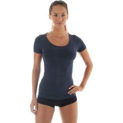 Bluzki damskie: Brubeck Koszulka damska z krótkim rękawem COMFORT WOOL grafitowa r. M (SS11020)