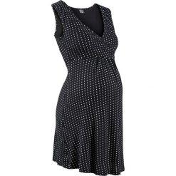 Koszula nocna do karmienia z wiskozy bonprix czarny w kropki. Czarne bielizna ciążowa marki bonprix, moda ciążowa. Za 37,99 zł.