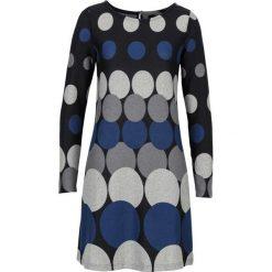 Długie sukienki: Sukienka dzianinowa w grochy bonprix czarno-ciemnoniebiesko-ciemnoszaro-jasnoszary