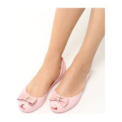 Baleriny damskie lakierowane: Różowe Balerinki Heney