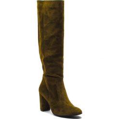 Kozaki NESSI - 18456 Oliwka 192. Zielone buty zimowe damskie Nessi, z materiału, przed kolano, na wysokim obcasie, na obcasie. Za 419,00 zł.
