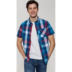 Koszule męskie na spinki: Koszula z krótkim rękawem w kratę - Czerwony