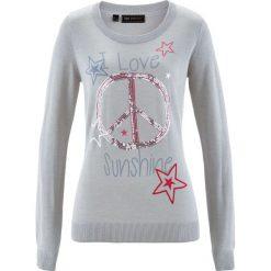 Sweter z cekinami bonprix jasnoszary melanż z kolorowym nadrukiem. Szare swetry klasyczne damskie bonprix. Za 79,99 zł.