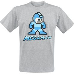 Mega Man 8-Bit Character T-Shirt odcienie szarego. Niebieskie t-shirty męskie marki Reserved, l, z okrągłym kołnierzem. Za 54,90 zł.