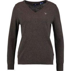 Swetry damskie: GANT EXTRAFINE VNECK Sweter brown melange
