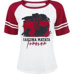 The Lion King Forever Koszulka damska biały/czerwony. Białe bluzki damskie The Lion King, s, z nadrukiem, z okrągłym kołnierzem. Za 79,90 zł.