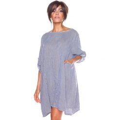 """Sukienki hiszpanki: Lniana sukienka """"Mia"""" w kolorze biało-niebieskim"""