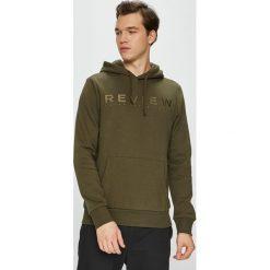 Review - Bluza. Brązowe bluzy męskie rozpinane Review, l, z aplikacjami, z bawełny, z kapturem. Za 149,90 zł.