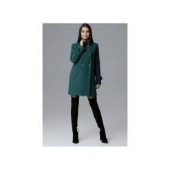Płaszcz M623 Zielony. Szare płaszcze damskie marki FIGL, m, z bawełny, eleganckie, z asymetrycznym kołnierzem, z długim rękawem. Za 299,00 zł.