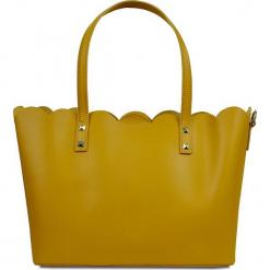 """Skórzany shopper bag """"Adelie"""" w kolorze żółtym - 31 x 24 x 16 cm. Żółte shopper bag damskie Spécial maroquinerie, z materiału. W wyprzedaży za 272,95 zł."""