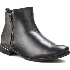 Botki A.J.F. - B0753  Granat 511/512. Niebieskie buty zimowe damskie A.J.F., ze skóry, na obcasie. W wyprzedaży za 219,00 zł.