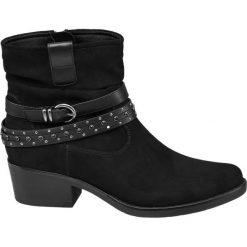Botki damskie Graceland czarne. Czarne botki damskie na obcasie Graceland, z materiału. Za 139,90 zł.