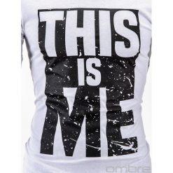 T-SHIRT MĘSKI Z NADRUKIEM S598 - BIAŁY. Czarne t-shirty męskie marki Ombre Clothing, m, z bawełny, z kapturem. Za 29,00 zł.