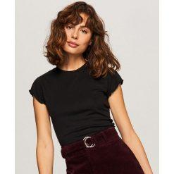T-shirt z prążkowanej dzianiny - Czarny. Czarne t-shirty damskie Reserved, l, z dzianiny. Za 29,99 zł.