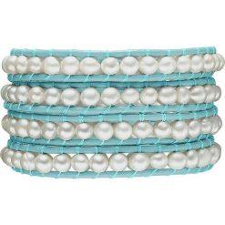 Bransoletki damskie na nogę: Skórzana bransoletka w kolorze turkusowo-białym z perłami słodkowodnymi