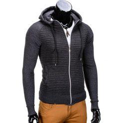 BLUZA MĘSKA ROZPINANA Z KAPTUREM B679 - GRAFITOWA. Szare bluzy męskie rozpinane marki Ombre Clothing, m, z bawełny, z kapturem. Za 79,00 zł.