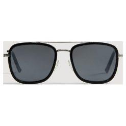 Mango Man - Okulary Square. Brązowe okulary przeciwsłoneczne męskie marki Mango Man, z materiału. Za 89,90 zł.
