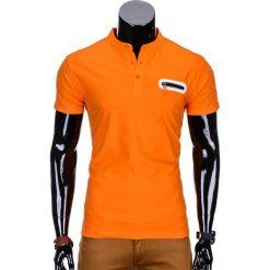 T-SHIRT MĘSKI BEZ NADRUKU S665 - POMARAŃCZOWY. Brązowe t-shirty męskie z nadrukiem Ombre Clothing, m, z bawełny, ze stójką. Za 35,00 zł.