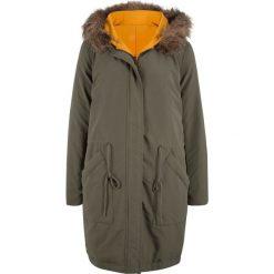 Płaszcz puchowy dwustronny bonprix ciemnooliwkowy. Zielone płaszcze damskie pastelowe bonprix, z puchu. Za 319,99 zł.