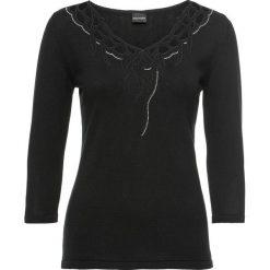 Sweter bonprix czarny. Czarne swetry klasyczne damskie bonprix, z dzianiny, z dekoltem w serek. Za 54,99 zł.
