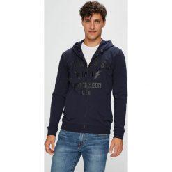 Guess Jeans - Bluza. Szare bluzy męskie rozpinane Guess Jeans, l, z aplikacjami, z bawełny, z kapturem. Za 459,90 zł.