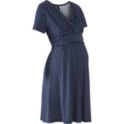 Sukienka ciążowa i do karmienia, shirtowa, krótki rękaw bonprix ciemnoniebiesko-biały w kropki. Białe sukienki ciążowe bonprix, w kropki, mini. Za 109,99 zł.