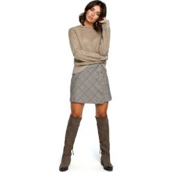 Jasnobrązowy Kimonowy Sweter z Kontrastowymi Mankietami. Brązowe swetry oversize damskie marki Molly.pl, uniwersalny, z dzianiny. Za 105,90 zł.